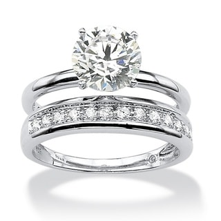 Ultimate CZ Platinum over Silver Cubic Zirconia Wedding-style Ring Set