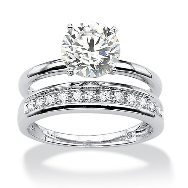 PalmBeach 220 TCW Round Cubic Zirconia Wedding Ring Set In Platinum Over Sterling Silver