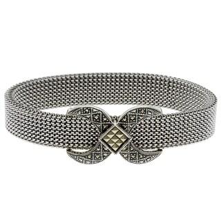 MARC Sterling Silver Marcasite 'X' Design Stretch Mesh Bracelet