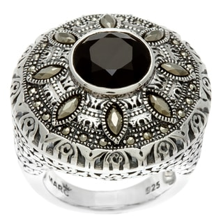 MARC Sterling Silver Black Onyx and Marcasite Ring
