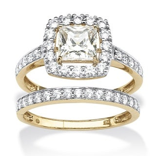 Ultimate CZ Gold over Silver Cubic Zirconia Wedding-style Ring Set
