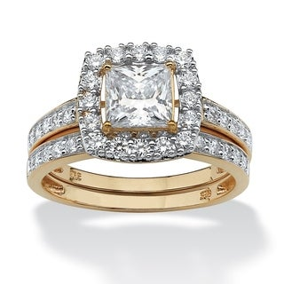PalmBeach 1.93 TCW Princess-Cut Cubic Zirconia Two-Piece Bridal Set in 18k Gold over Sterling Silver Glam CZ