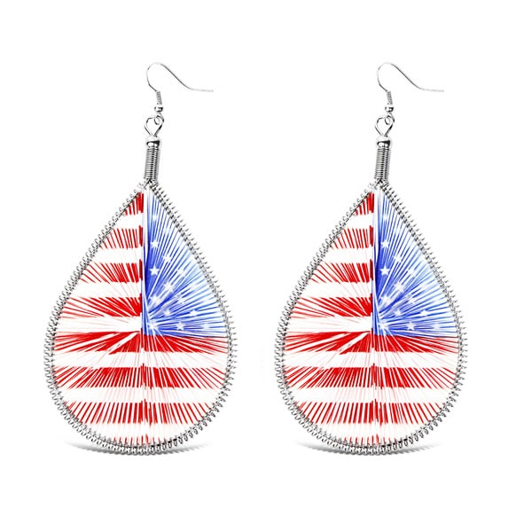 American Flag Base Metal Woven Thread Teardrop Earring