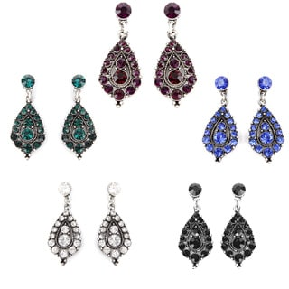 Silvertone Colored Crystal Clustered Drop Earrings