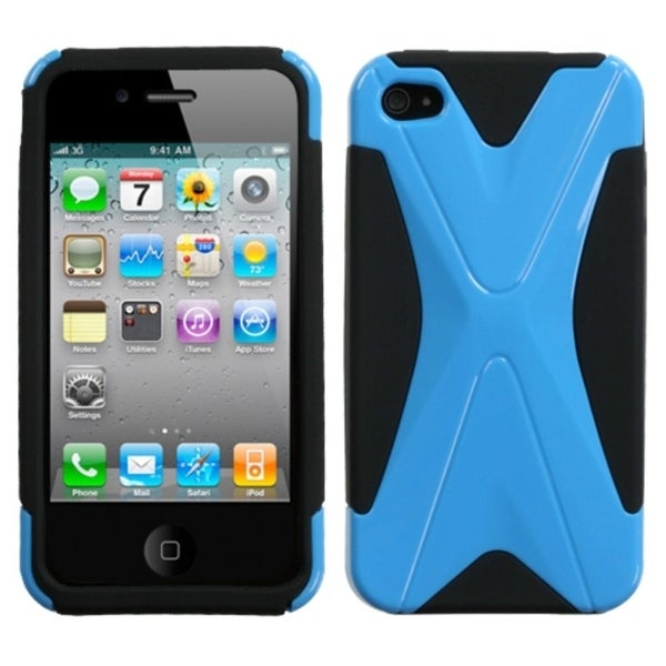 INSTEN Natural Turquoise/ Black Dual X Phone Case Cover for Apple iPhone 4S/ 4