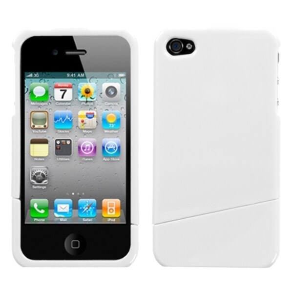 INSTEN Ivory White Slash Phone Case Cover for Apple iPhone 4S/ 4
