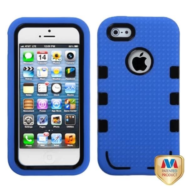 INSTEN Black/ Dark Blue TUFF eNUFF Hybrid Phone Case Cover for Apple iPhone 5