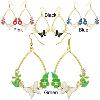 Kate Marie Goldtone Rhinestone and Acrylic Flower/ Butterfly Earrings