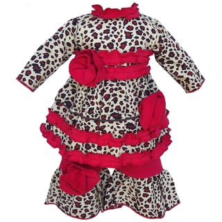 AnnLoren Leopard Tunic & Red Pants Doll Outfit fits American Girl Dolls