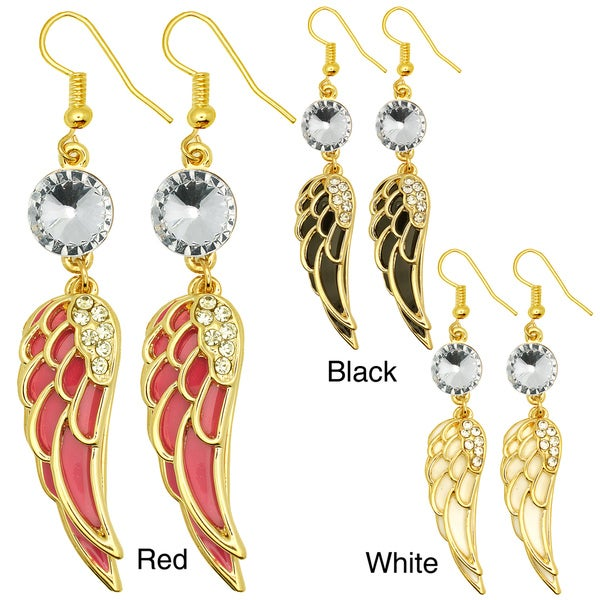 Kate Marie Goldtone Rhinestone and Enamel Angel Wing Earrings