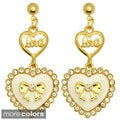 Kate Marie Goldtone Rhinestone Candy Color Heart Earrings