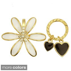 Kate Marie Goldtone Rhinestone Flower and Heart Asymmetrical Earrings