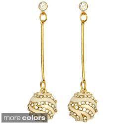 Kate Marie Goldtone Rhinestone Elegant Ball Earrings
