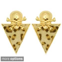 Kate Marie Goldtone or Silvertone Leopard Pattern Skull Earrings