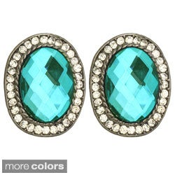 Kate Marie Silvertone Colored Rhinestone Winsome Earrings