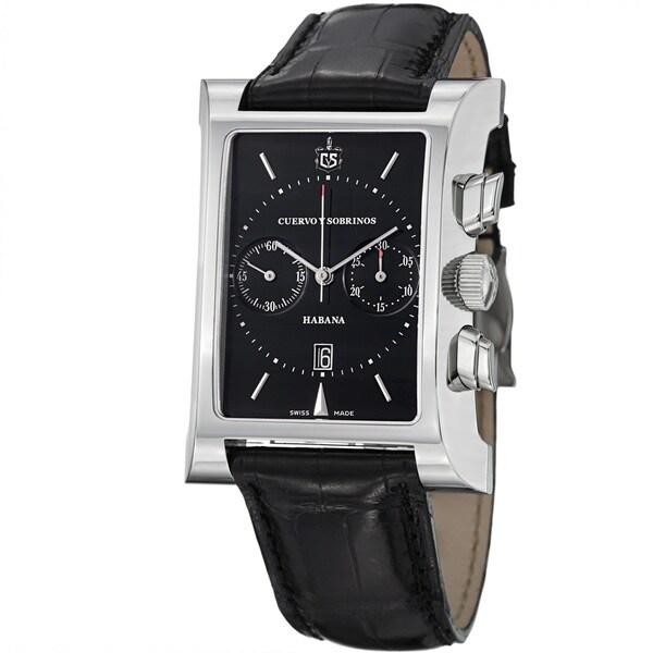 Cuervo Y Sobrinos Men's 2416.1N 'Esplendidos Chrono' Black Dial Strap Watch