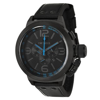 TW Steel Men's 'Canteen' Black/Blue PVD-coated Stainless Steel Chronograph Watch