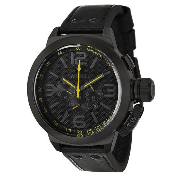 TW Steel Men's 'Canteen' Large Stainless Steel Black PVD Coated Chronograph Watch