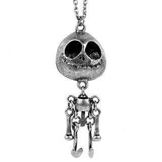 Silvertone Antiqued Skeleton Dangling Body Pendant Necklace