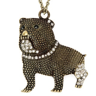 Goldtone Crystal Bulldog Pendant Necklace