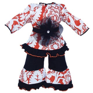 AnnLoren Orange & Black Blossom Doll Outfit fits American Girl Dolls