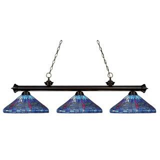 Bronze Tiffany Billiard 3-light Fixture