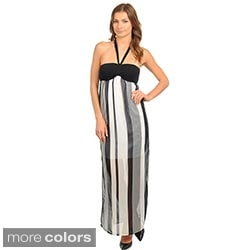 Stanzino Women's Vertical Striped Semi Sheer Halter Maxi Dress