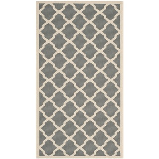 Contemporary Safavieh Indoor/ Outdoor Courtyard Anthracite/ Beige Rug (2'7 x 5')