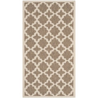 Safavieh Machine-made Indoor/ Outdoor Courtyard Brown/ Bone Rug (2'7 x 5')