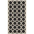 Safavieh Rectangular Indoor/ Outdoor Courtyard Black/ Beige Rug (2'7 x 5')