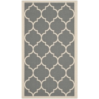 Safavieh Indoor/ Outdoor Courtyard Anthracite/ Beige Accent Rug (2' x 3'7)