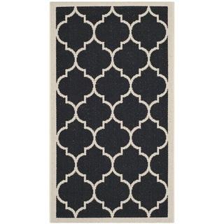 Safavieh Indoor/ Outdoor Courtyard Collection Black/ Beige Rug (2' x 3'7)