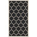 Safavieh Geometric Indoor/ Outdoor Courtyard Black/ Beige Rug (2'7 x 5')
