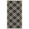 Safavieh Indoor/ Outdoor Courtyard Black/ Beige Polyproplene Rug (2'7 x 5')