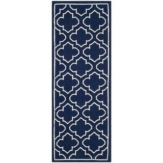 Safavieh Hand-woven Moroccan Reversible Dhurrie Navy Wool Rug (2'6 x 7')