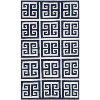 Safavieh Hand-woven Moroccan Reversible Dhurrie Navy Wool Rug (2'6 x 4')