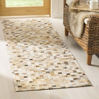 Safavieh Hand-woven Studio Leather Brown/ Ivory Leather Rug (2'3 x 7')