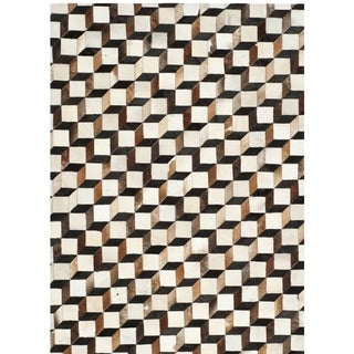 Safavieh Hand-woven Studio Leather Brown/ Ivory Leather Rug (5' x 8')