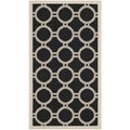 Safavieh Indoor/ Outdoor Courtyard Black/ Beige Accent Rug (2' x 3'7)
