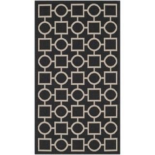 Safavieh Contemporary Indoor/ Outdoor Courtyard Black/ Beige Rug (2'7 x 5')