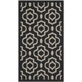 Safavieh Indoor/ Outdoor Courtyard Black/ Beige Geometric-pattern Rug (2' x 3'7)