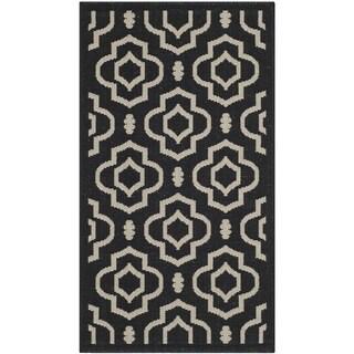 Safavieh Indoor/ Outdoor Courtyard Black/ Beige Geometric-pattern Rug (2' x 3'7)