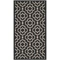 Safavieh Stain-resistant Indoor/ Outdoor Courtyard Black/ Beige Rug (2'7 x 5')
