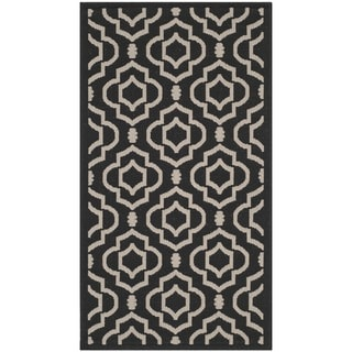 Safavieh Stain-resistant Indoor/ Outdoor Courtyard Black/ Beige Rug (2'7 x 5')