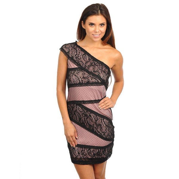 Stanzino Women's Single Shoulder Lace Detail Pink Dress