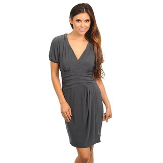 Stanzino Women's Short Sleeve V-neck Charcoal Dress