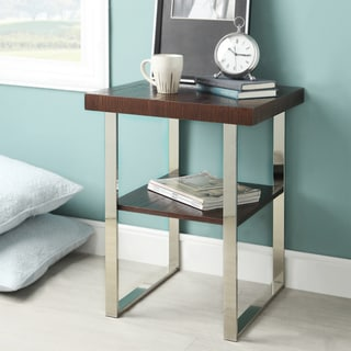 Kona Contemporary Chrome Rich Brown Wood-Top Accent Table