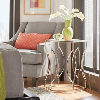 Kona Contemporary Chrome Glass-Top Hexagonal Accent Table