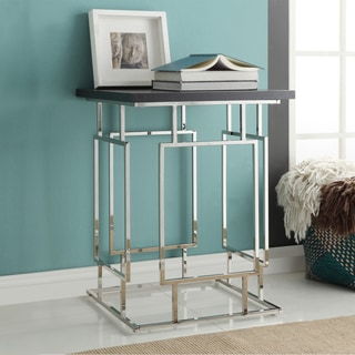 Kona Contemporary Chrome Finish High-Rise Wood Top Accent Table