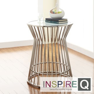 Inspire Q Kona Contemporary Chrome Platner Glass-Top Accent Table